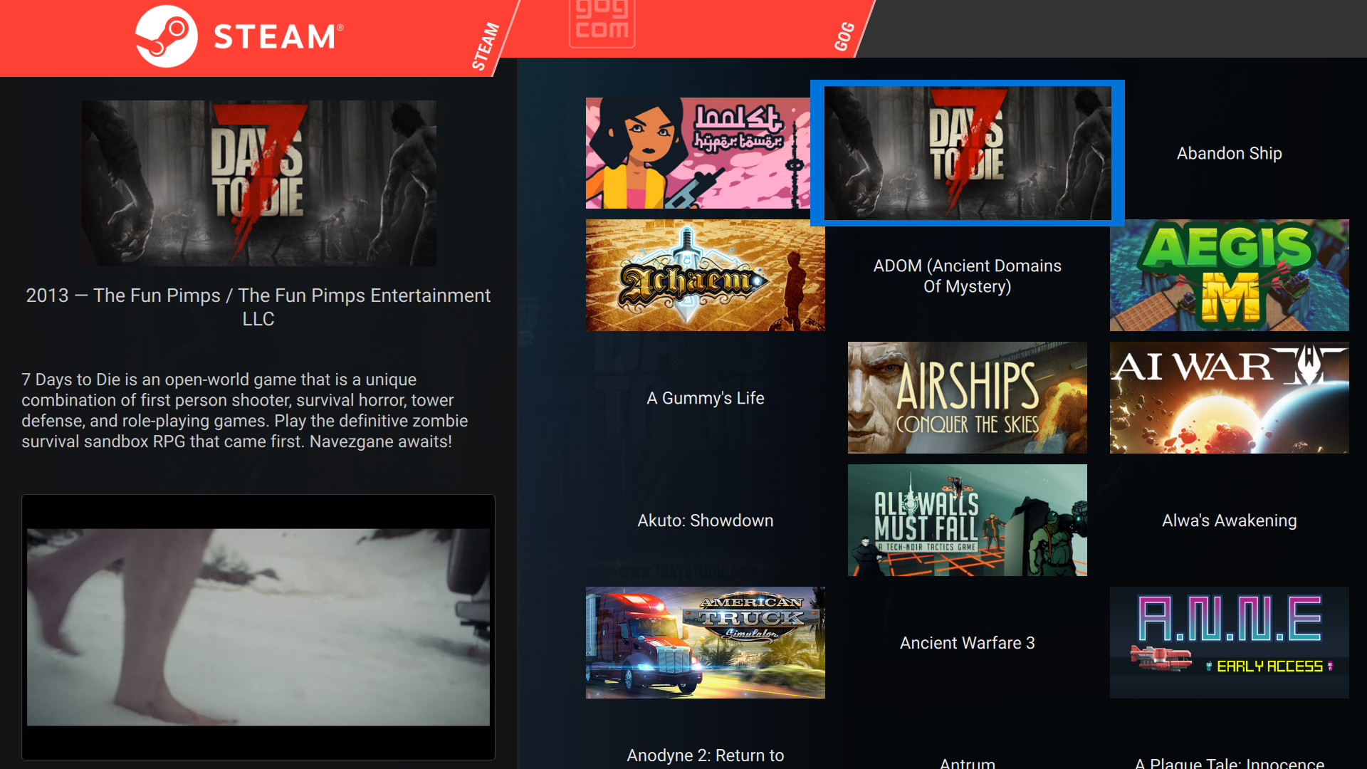 Pegasus Frontend, another open source game launcher has