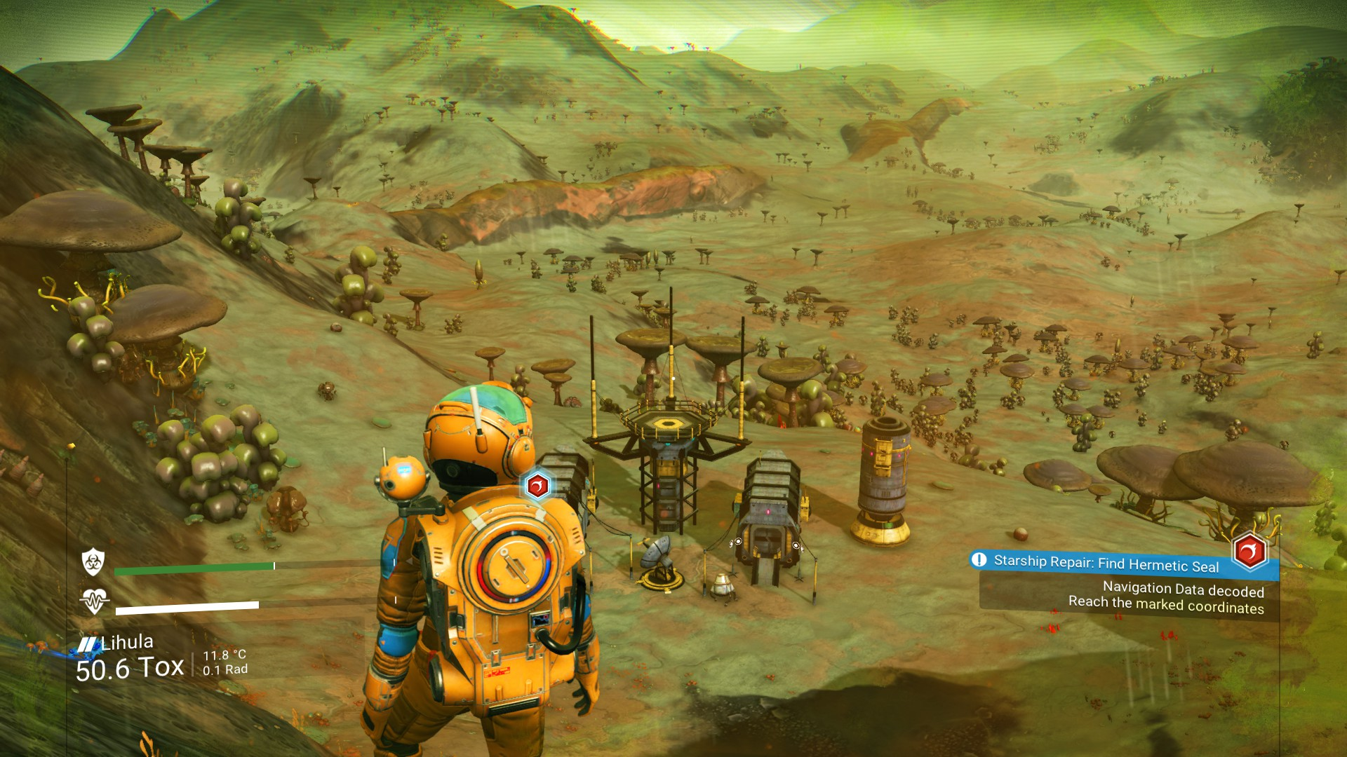 No Man's Sky runs very nicely on Linux with Steam Play, huge online