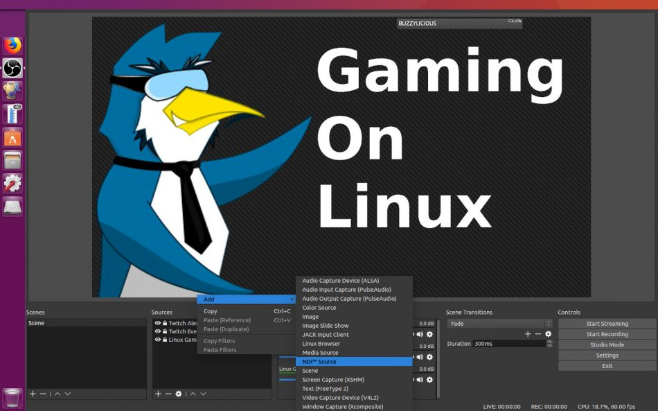 OBS Studio NDI Plugin for Linux, send video from one Linux